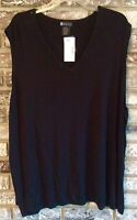 Maggie Barns Black Sleeveless Knit Top 4x