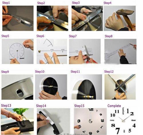 Modern DIY Wall Clock 3D Mirror Surface Sticker Office Home Art Decor Room USA