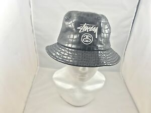347bff253c8 Image is loading Leather-STUSSY-Bucket-Hat-Black-Size-Small