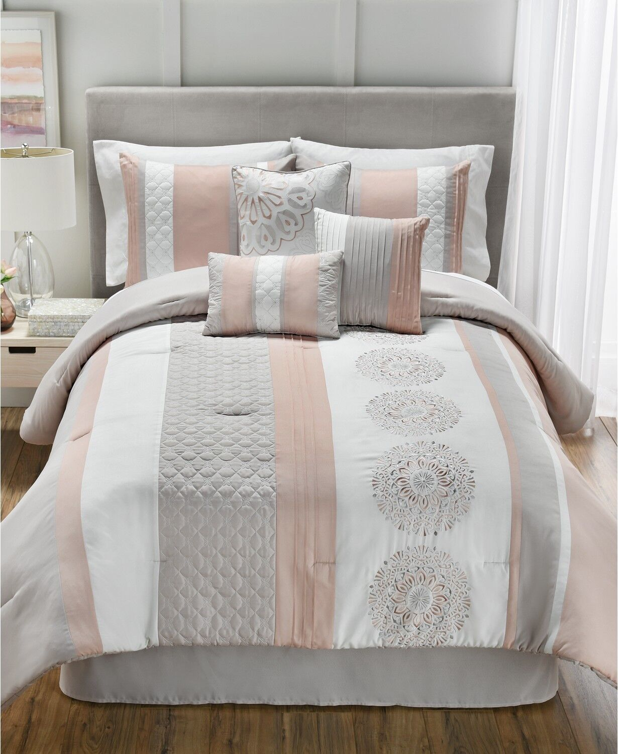 Hallmart Collectibles Crawford Quilted 7 Piece KING Comforter Set Bedding i1597