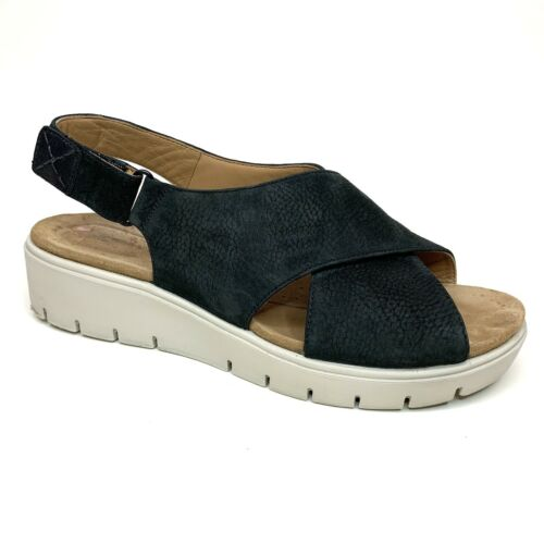 Clarks Unstructured Karely Black Nubuck Sandals Ch