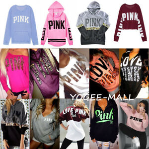 PINK-Women-Long-Sleeve-Hoodie-Sweatshirt-Casual-Hooded-Pullover-Top-Shirt-Blouse