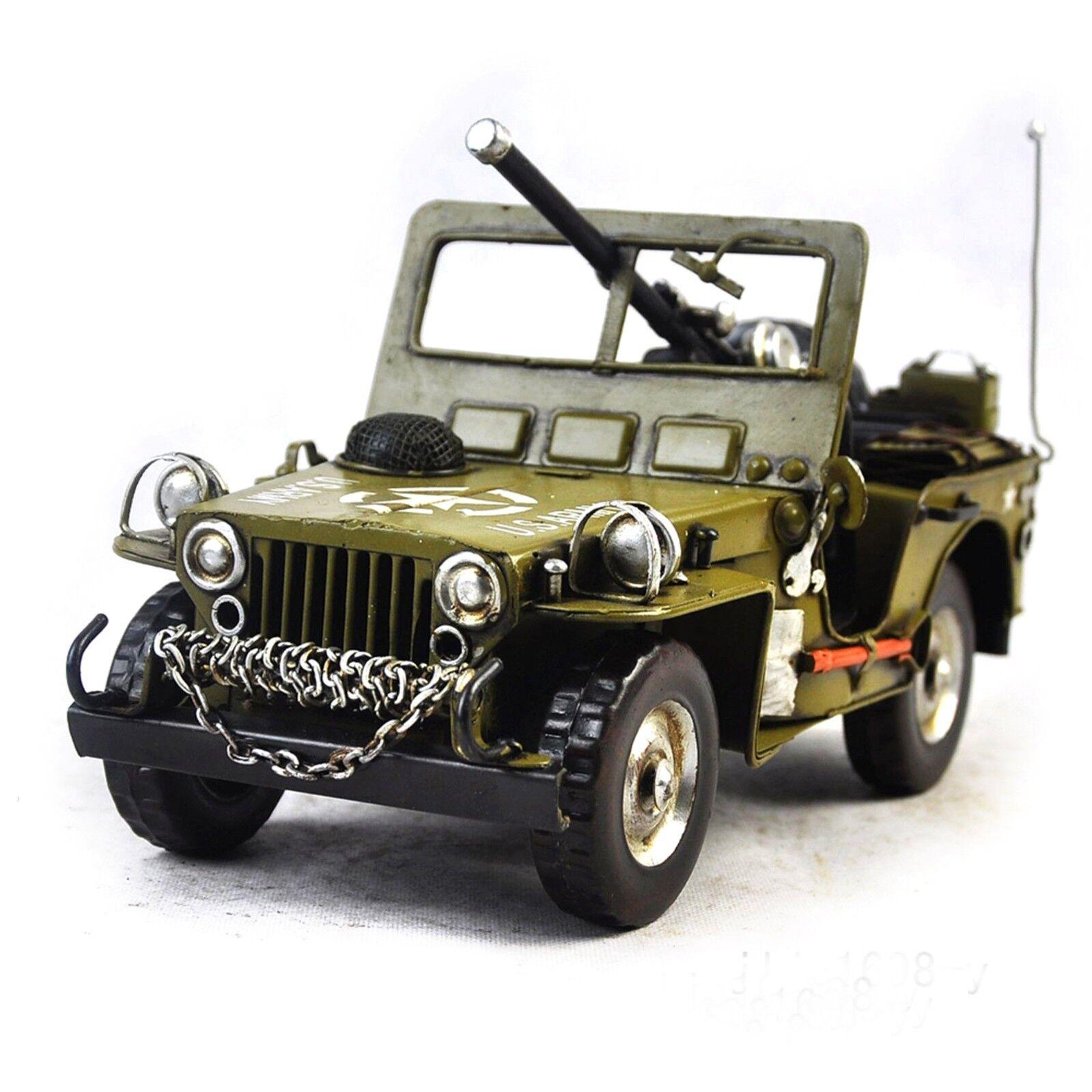 Vehículo Militar 1940 Hecho a Mano Jeep Off-Road 1 12 Modelo de Metal Estilo Antiguo