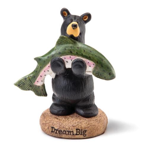 DEMDACO Jeff Fleming Bearfoots Dream Big Fish Bear Holding Fish Mini Figurine