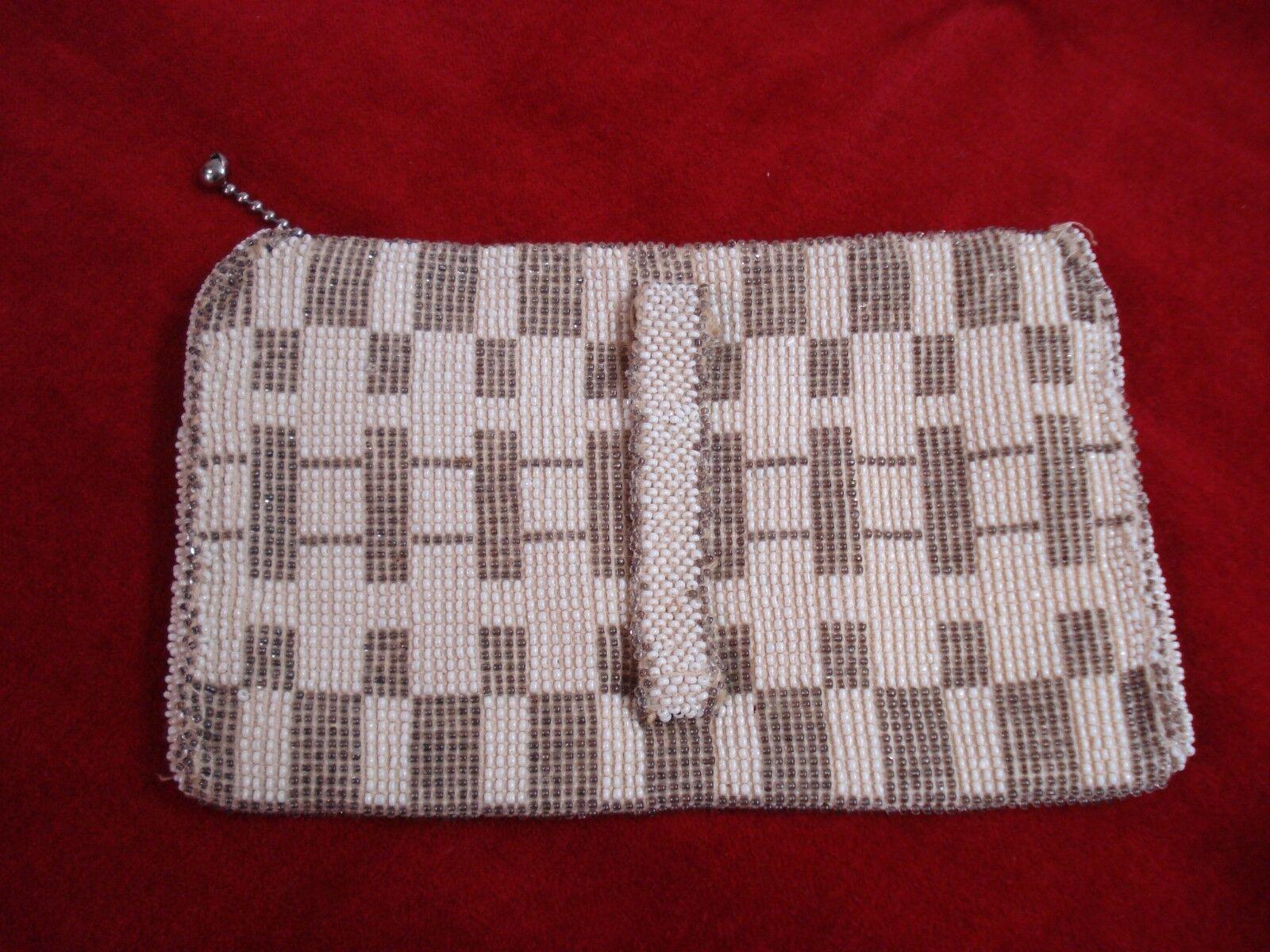Vtg/Antique Small Clutch Evening Bag Czechoslovakia-MICRO GLASS BEADS-ART DECO