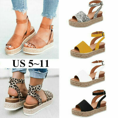 Women Ankle Strap Flatform Wedges Shoes Espadrilles Platform