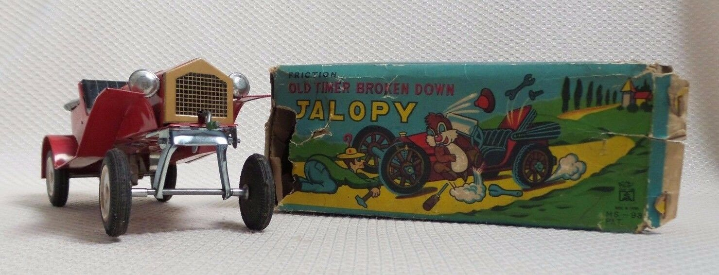 Awesome Rare Vintage Jalopy Accident Tin Friction Friction Friction Car in Box - MASUYA 1950s 2595c3