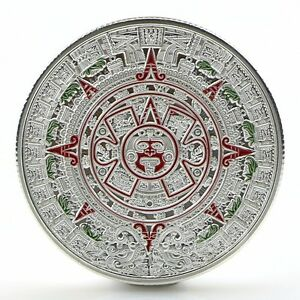 Silver-Plated-Mayan-Aztec-Prophecy-Calendar-Commemorative-Coin-Collection-Gift