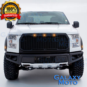 15-17 Ford F150 Raptor Conversion Style Black Front Bumper+Fender Flares+LED