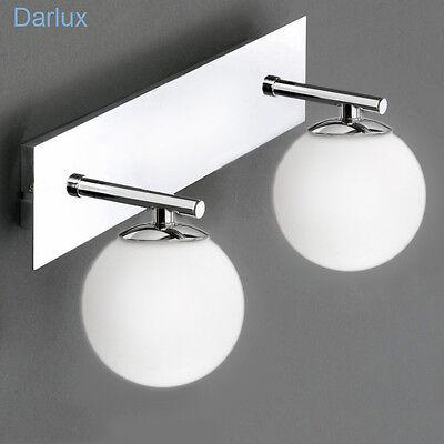 Badlampe Spiegelleuchte Wandleuchte Glas Chrom Design Bad, LED möglich, IP44