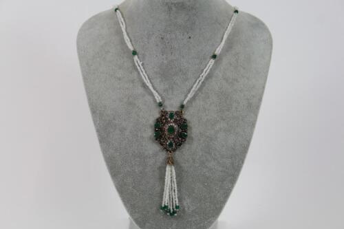 Großes Prunk Collier Halskette Perlen Schmuckmetall mit Steinbesatz Barock Stil