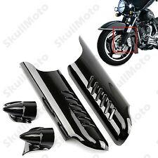 Black Fork Lower Leg Deflectors Shields Cover For Harley Touring FLHT 2000-2013