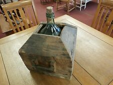 """Antique Wine Demi-John Wooden Carboy with glass bottle 17"""" x 16"""" x 12"""""""