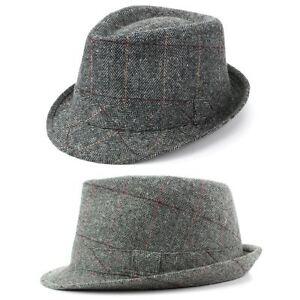50a4f0e349c Trilby Hat Wool Tweed Fedora Cap Mens Unisex Country Brim Grey Check ...