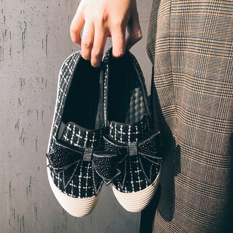 New Womens Fashion Sweet Mary Jane Jane Jane Rhinestones Bowknot Boat shoes Casual Loafers e13b6d