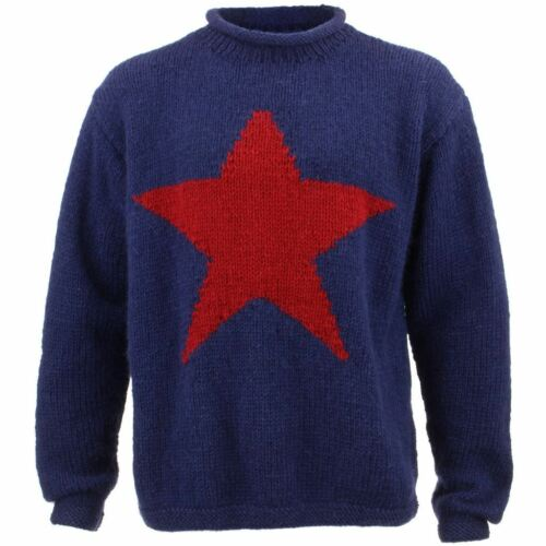 Wool Jumper Star Chunky Knit Knitted Sweater Pullover Rolled Crew Red Blue