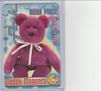 Beanie Babies Teddy Magenta Tear A Bear Card Not Open Condition