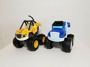 Blaze and the Monster Machines SLAM N GO Stripes & Crusher Push & Go ⭐Lot of 2⭐