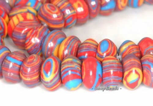 MATRIX TURQUOISE GEMSTONE CITRUS RED RONDELLE 8X4MM LOOSE BEADS 7.5/""