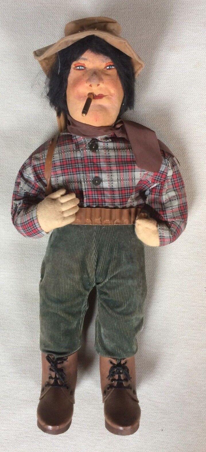 2 bambole panno-cartapesta LA NONNA E IL CACCIATORE -  doll Vintage 45 CM
