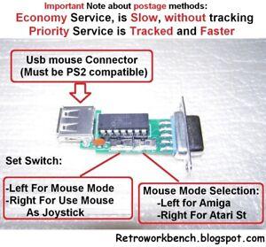 USB PS2 Mouse Adapter -> Atari ST Amiga Amstrad Commodore 9pin DB9 Joystick Port