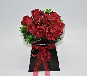 Red Roses Bouquet In Black Gift Box Fwith Organza Ribbon And Glitter