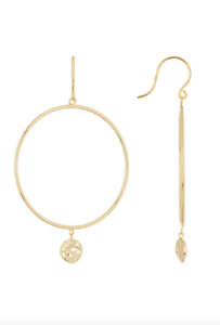 Argento-Vivo-18k-Gold-Plated-Sterling-Silver-Hammered-Disc-Dangle-Hoop-Earrings
