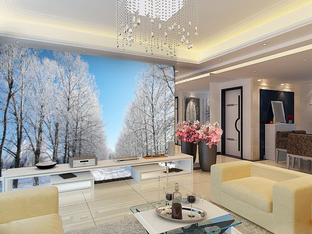 3D whiteer Schnee Allee Wald 74 Tapete Wandgemälde Tapete Tapeten Bild Familie DE