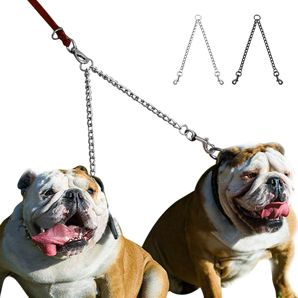 2 Way Metal Lead Chain Coupler Double Dog Leash for Two Dogs