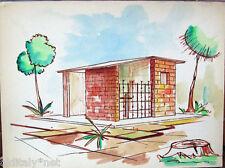 Acquerello '900 su carta Watercolor Architettura futurista cubista razionale-78