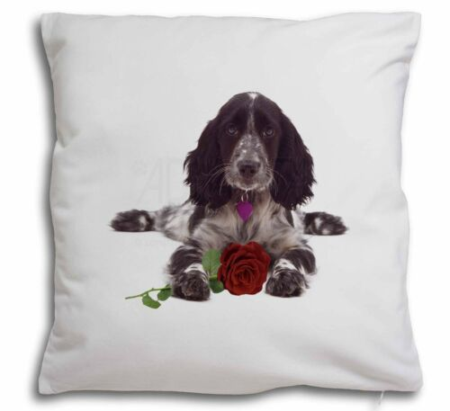 Blue Roan Cocker Spaniel with Rose Soft Velvet Feel Cushion Cover AD-SC13R-CPW