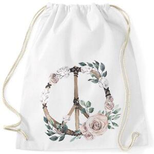 Turnbeutel-Peace-Symbol-Blumen-Flowerpower-Hippie-Boho-Bohemian-Autiga
