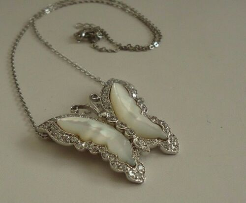 BUTTERFLY NECKLACE PENDANT W// MOTHER OF PEARL /& LAB DIAMONDS// STERLING SILVER