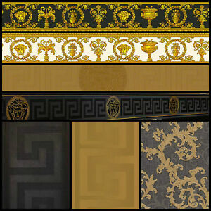 Versace Designer Wallpaper Black Gold Official Greek Key Luxury