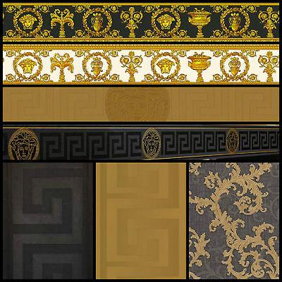 versace designer wallpaper black gold official greek key luxury satin modern ebay