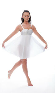 d60f8424aadac Image is loading White-Sparkly-Sequin-Short-Lyrical-Dress-Contemporary- Ballet-