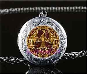 Oro-Cristal-Cabujon-de-Phoenix-Foto-Medallon-Colgante-Collar-De-Plata-Tibet