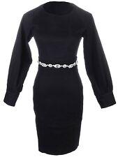 Women S/M Fit Black Rhinestone Embellished Waist Belt Bishop Sleeves Dress