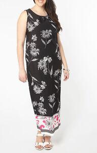 50513e8a57f Ex Evans BLACK Sleeveless Floral Print Shift Maxi Dress 14 16 18 20 ...