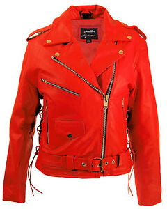 Womens top grain red leather biker motorcycle jacket zip out liner ...