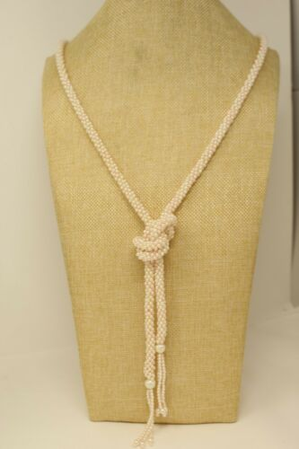 37 inches  **M4 vintage gold tone and faux pearl lariat style necklace  with faux pearl strand through the metal links large beaded ends