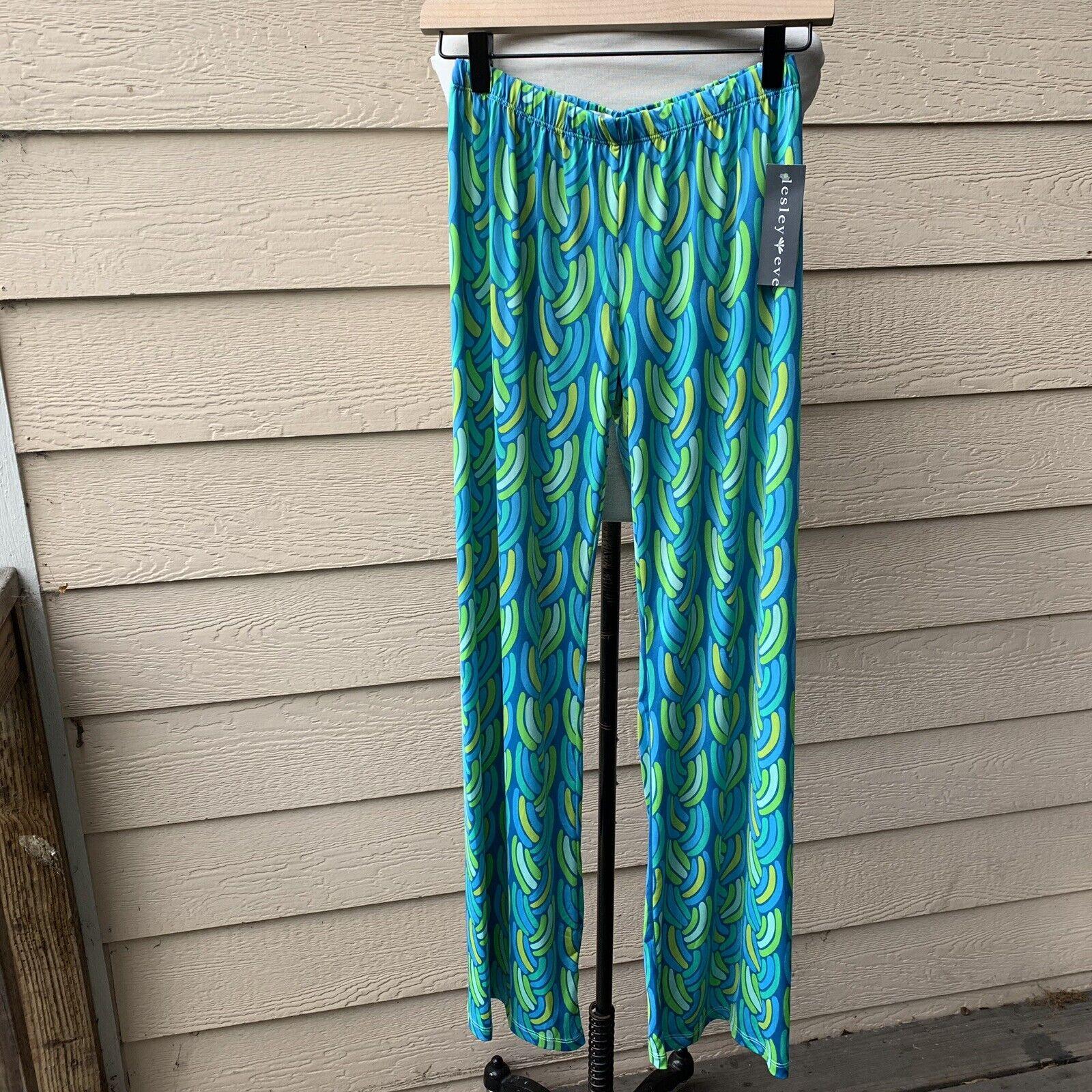 NWT Lesley Evers Cece Aqua Braids Blau Grün Stretchy Jersey Pants XS