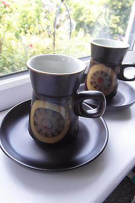 Denby Arabesque Coffee Cups & Saucers x 2