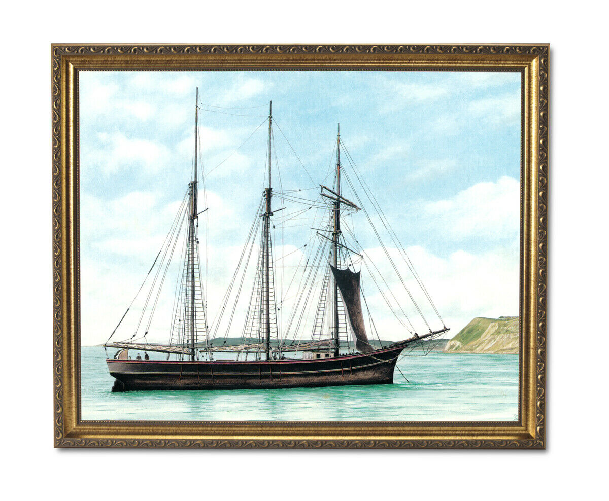 Victorian Shipping Boat Ocean Landscape Wall Picture Gold Framed Art Print