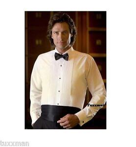 New Ivory Laydown Spread Tuxedo Shirt Pleated Formal Tux 14 14.5 x 34 35