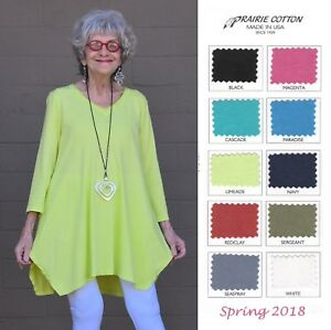 PRAIRIE-COTTON-USA-6215-3-4-V-NECK-TUNIC-Shark-Bite-Hem-S-M-L-XL-SPRING-2018