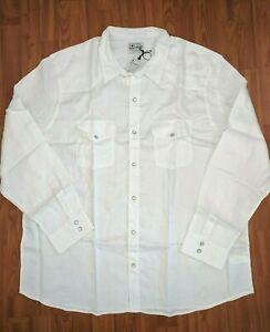 Lucky Brand Men/'s XXL Tall 2XLT NWT$79 White Linen Pearl Snap Western Shirt