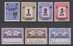 Germany, Hamburg, 1959 Court Fee revenues, 7 different, used, sound, F-VF.