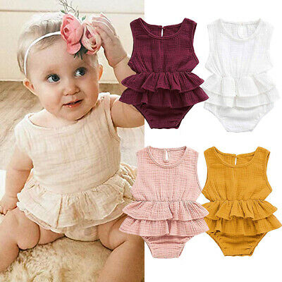 UK Toddler Kids Baby Girl Clothes Button Sleeveless Ruffle Romper Outfit Sunsuit
