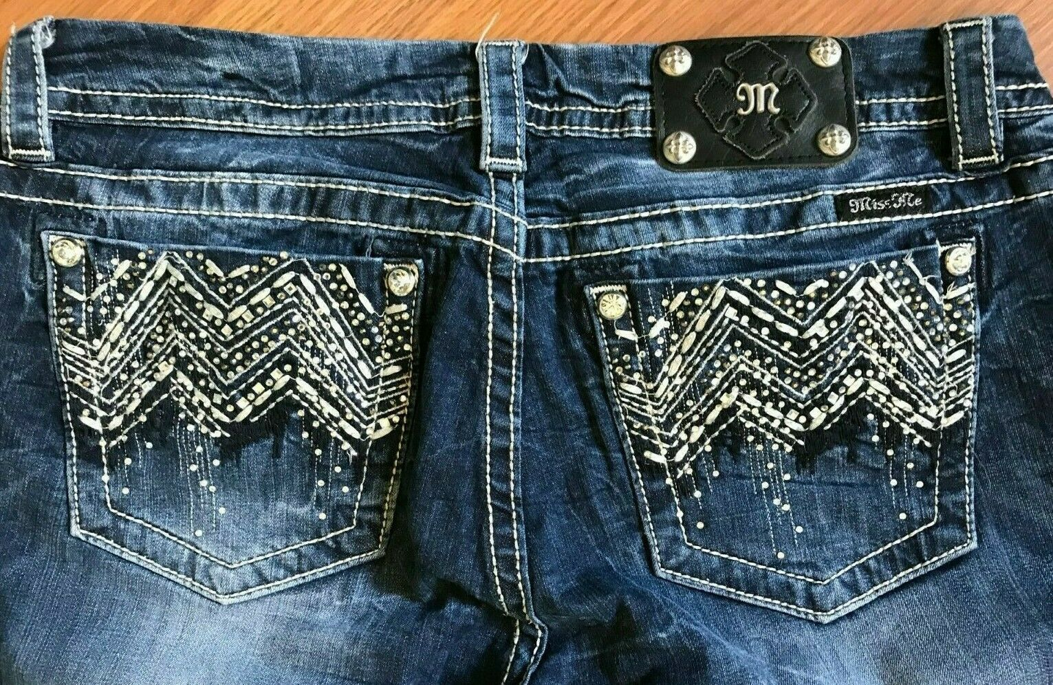 MISS ME JEANS JE8000E2L MID RISE EASY BOOT CUT GEMSTONE BLING TAG  31 - 32 X 31